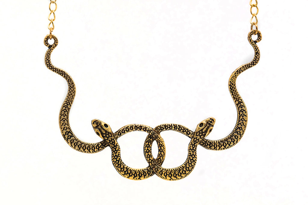 Golden Double Snake Necklace #N71-G - Fux Jewellery