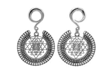 Silver Sri Yantra Ear Weights #EW37-S - Fux Jewellery