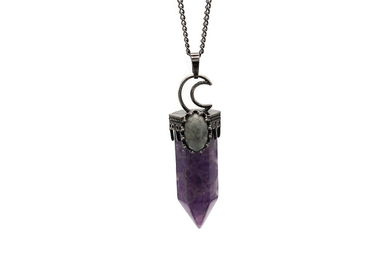 Crescent Moon Amethyst Necklace  #N79-A - Fux Jewellery