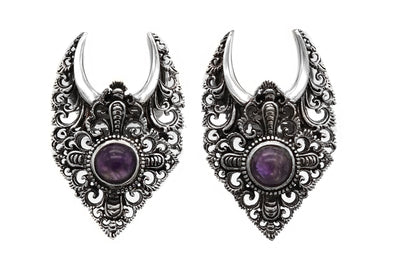 Silver Amethyst Saddle Weights