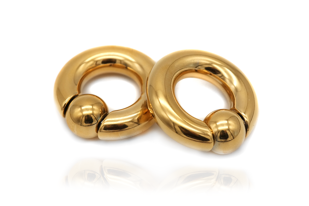 Gold Ball Closure Ring Ear Weights