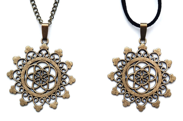 Bronze Seed of Life Mandala Necklace #N65 - Fux Jewellery