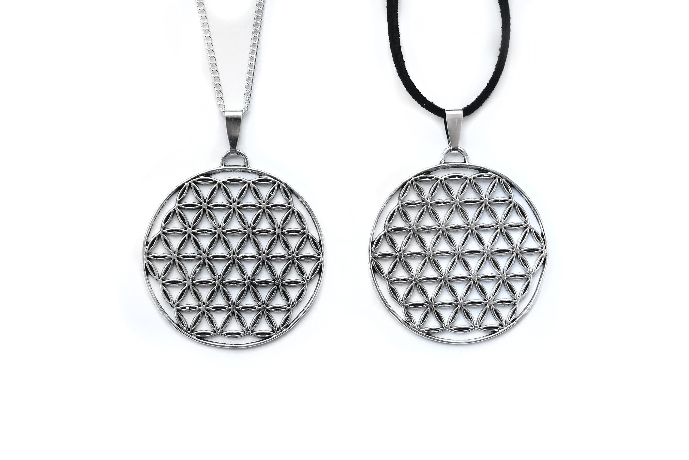Bronze Silver Flower of Life Necklace Silber Blume des Lebens Kette Fux Jewellery