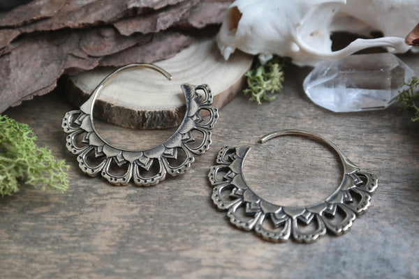 bronze Inca Plug Hoops #BE06