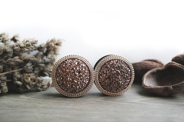 big rose gold druzy Plugs #768-2