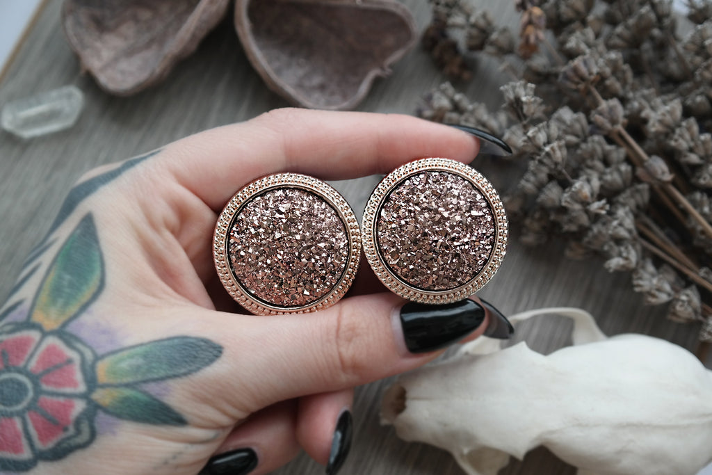 big rosegold druzy Plugs #768-2 - Fux Jewellery