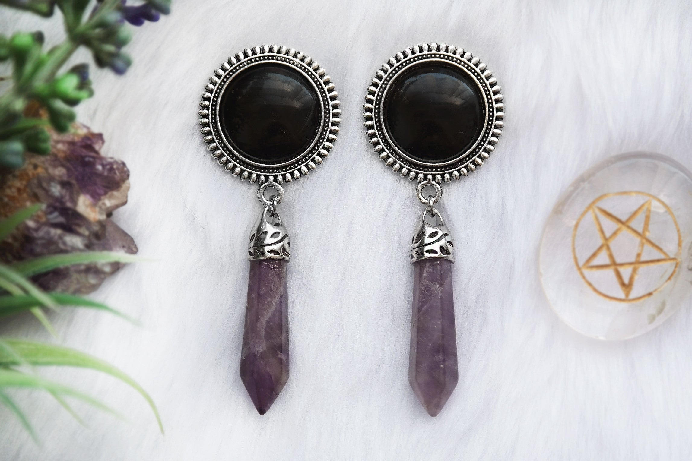 Amethyst Crystal Plugs - black #483-2