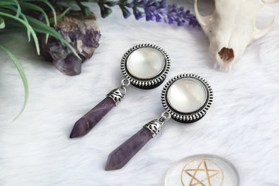 Amethyst Crystal Plugs - white #484-2 - Fux Jewellery