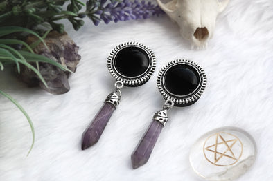 Amethyst Crystal Plugs - black #483-2 - Fux Jewellery