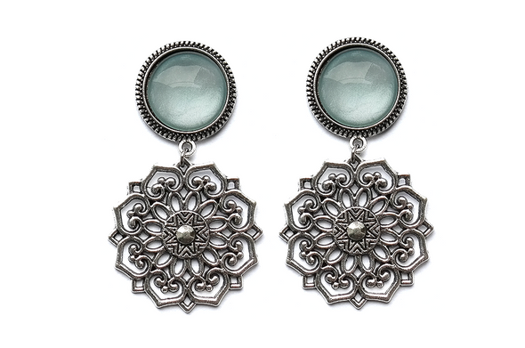 silver Mandala Plugs #717-blue - Fux Jewellery