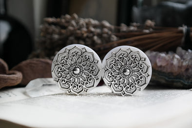 white Mandala Plugs #809 - Fux Jewellery