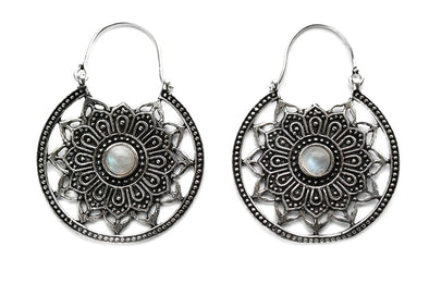 Silver Moonstone Mandala Hoops #BE22 - Fux Jewellery