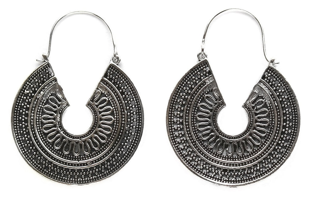 Silver Totec Hoops #BE23 - Fux Jewellery