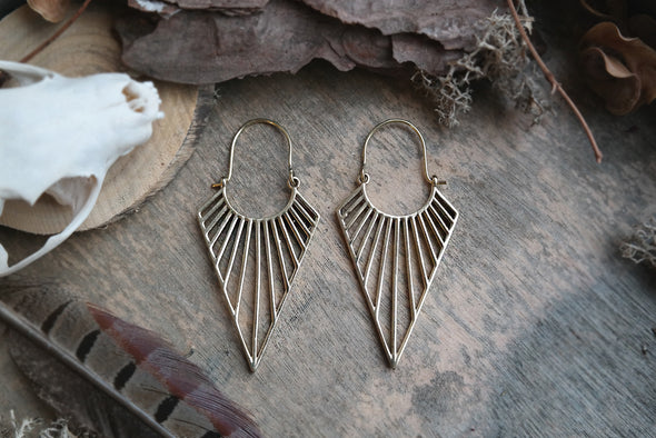 Gold Pointed Triangle Hoops #BE24 - Fux Jewellery