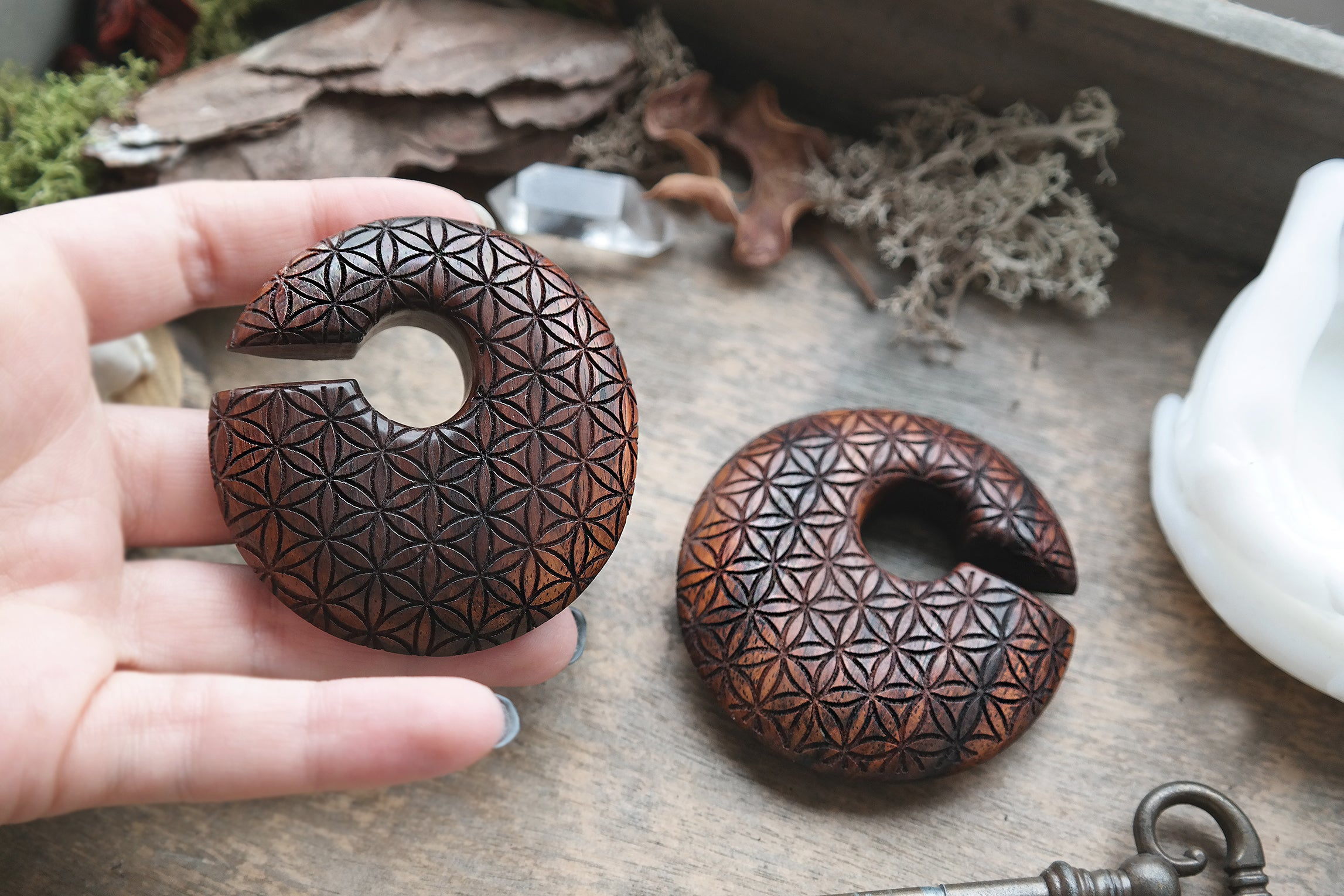 Wooden Flower of Life Ear Weights #WH04