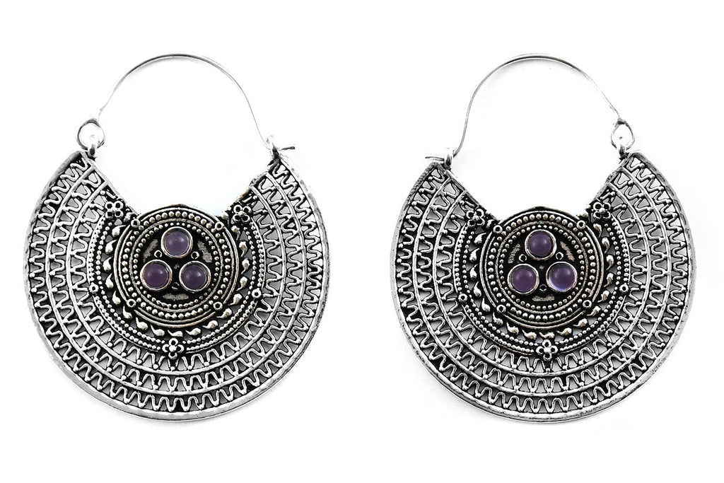 Silver Cryptic Amethyst Hoops #BE31 - Fux Jewellery