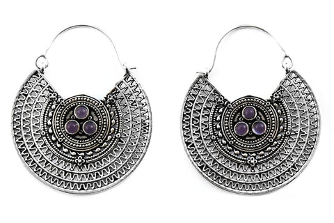 silver Cryptic Amethyst Hoops #BE31