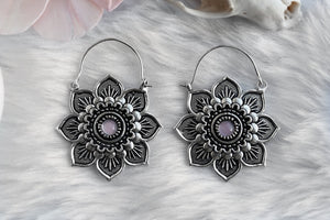 Silver Rose Quartz Lotus Hoops #BE30 - Fux Jewellery
