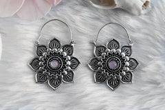 silver rosequartz Lotus Hoops #BE30