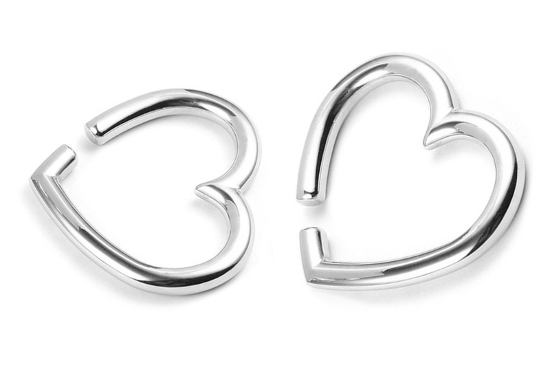 Silver Heart Ear Weights #EW38-S - Fux Jewellery