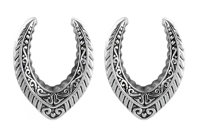 Silver Ornate V-Shaped Saddle Weights #SW03-S - Fux Jewellery