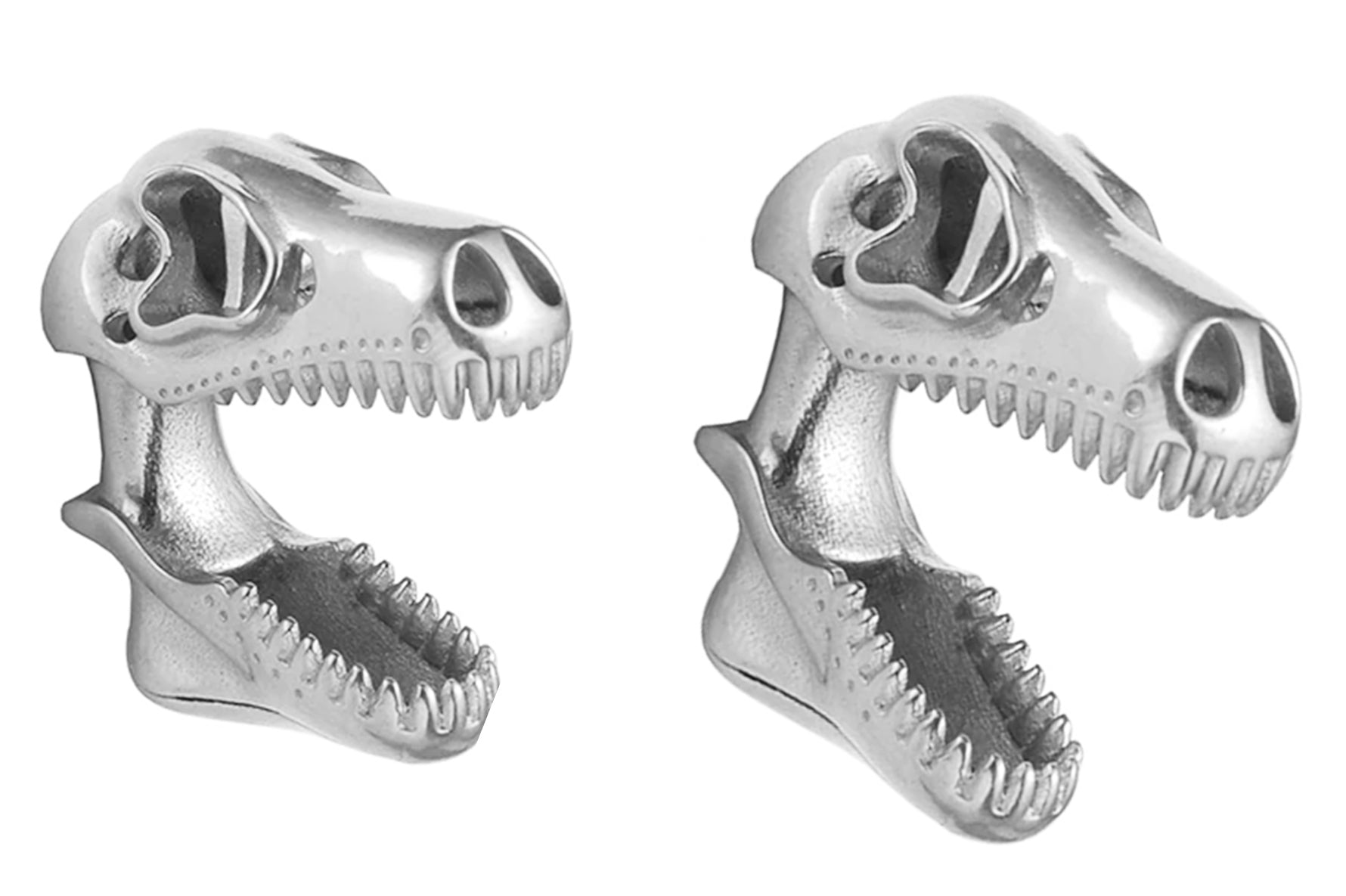 Silver T-Rex Skull Ear Weights #EW24