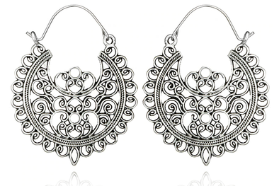 Silver Swan Hoops #BE39-S - Fux Jewellery