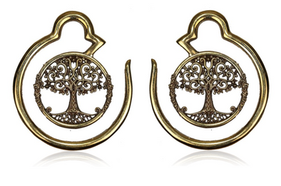 Brass Tree Of Life Ear Weights #EW04 - Fux Jewellery