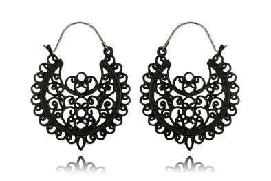 Black Swan Hoops #BE39-B - Fux Jewellery