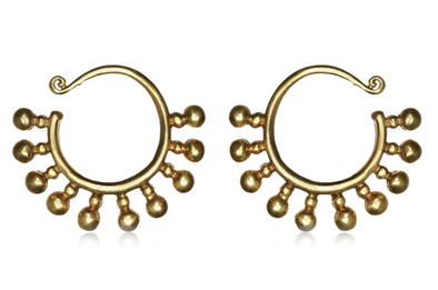 Beaded Brass Ear Weights #EW05 - Fux Jewellery