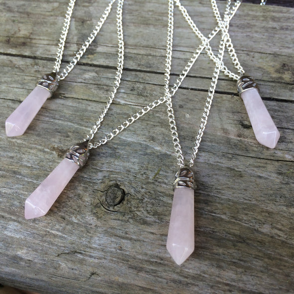 Silver Rose Quartz Crystal Necklace #N05 - Fux Jewellery