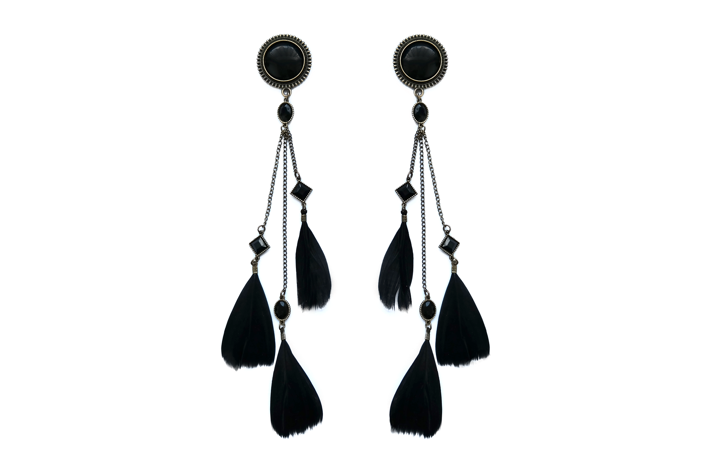 limited - black Feather Plugs #862