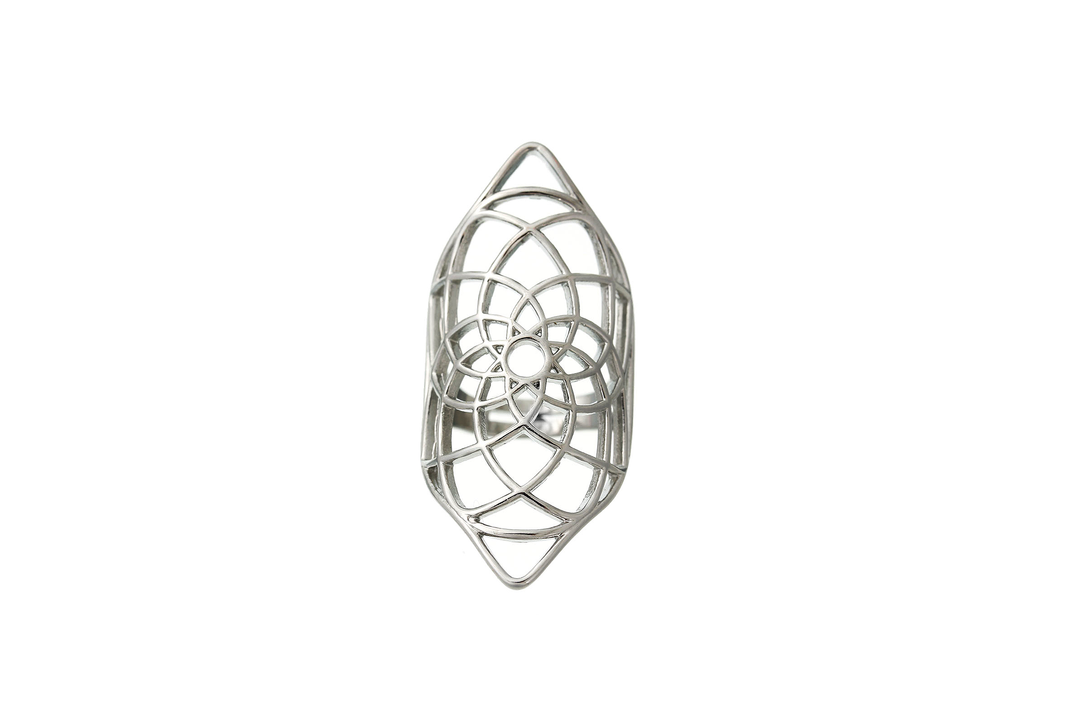 silver geometry Mandala Ring #R01