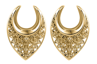 Golden Ornate Ear Hangers #EW33-G - Fux Jewellery