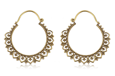 Golden Heart Tribal Hoops #BE32 - Fux Jewellery