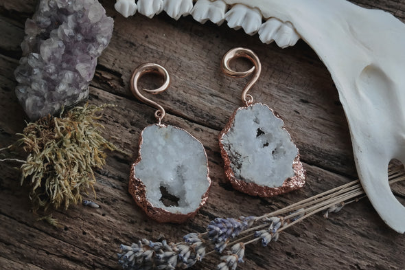 Rose Gold Crystal Ear Weights