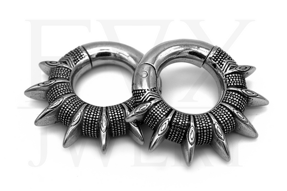 Silver Tribal Spike Ear Weights