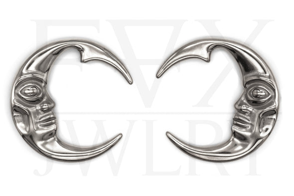 Silver Moon Ear Weights