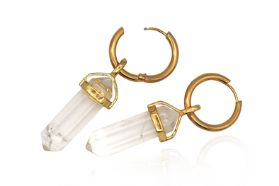Golden Clear Quartz Hoops