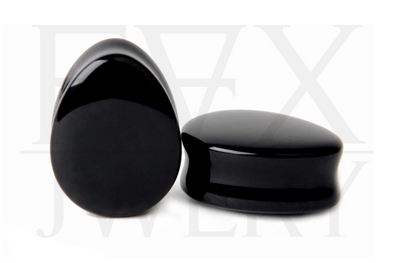Black Agate Teardrop Plugs