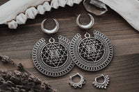 Silver Sri Yantra Ear Weights