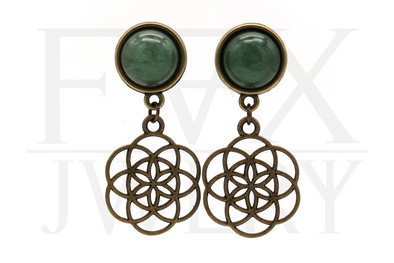 Aventurine Seed of Life Plugs