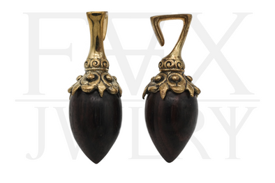 Golden Tribal Wood Ear Weights