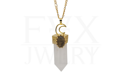 Golden Moon Quartz Necklace