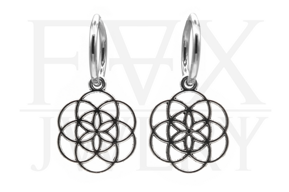 Silver Flower of Life Hoops