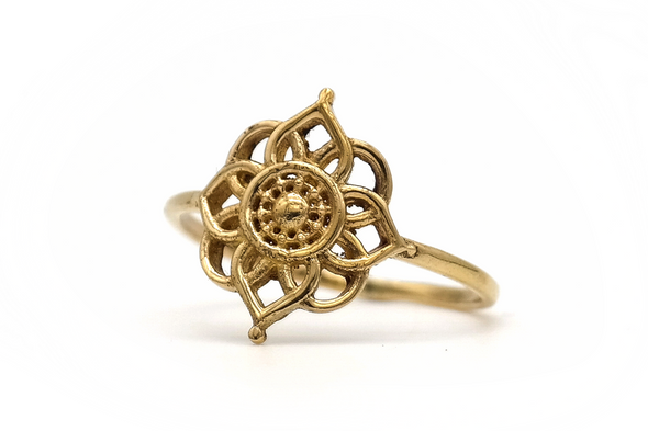 Golden Mandala Flower Ring