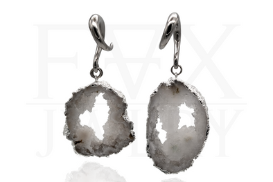 Silver Geode Ear Weights