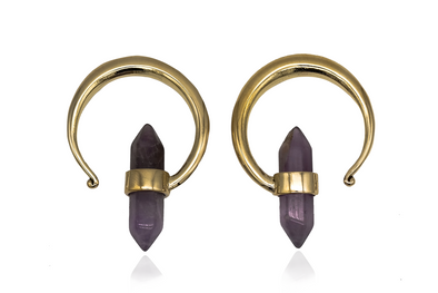 Golden Amethyst Ear Hangers