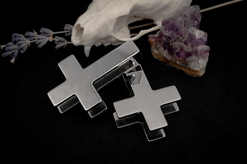 Silver Inverted Cross Ear Weights #EW41 - Fux Jewellery