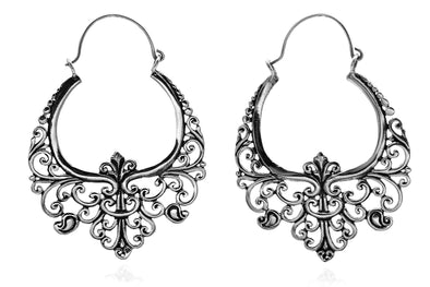Silver Floral Ornament Hoops